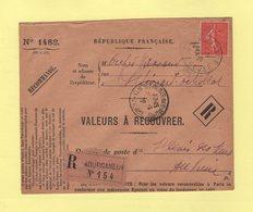 Type Semeuse - 80c Seul Sur Recommande Des Valeurs A Recouvrer - Bourganeuf - Creuse - 1926 - 1877-1920: Période Semi Moderne