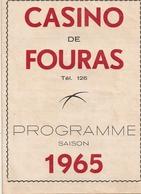 Fouras Programme Au Casino 1965 Avec José Cando - Fouras-les-Bains