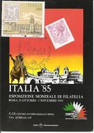 ITALIA - 1985 ROMA Esposizione Fil. ITALIA '85 Ann. Fdc (Marco Aurelio, Castel S.Angelo, Trinità Di Spagna) Su Cart.spec - Esposizioni Filateliche