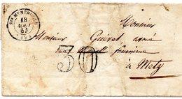 Marne - LSC (août 1854) Non Affr, Taxée 30c  Càd Type 15 Ste-Menehould - Marcophilie (Lettres)