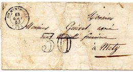 Marne - LSC (août 1854) Non Affr, Taxée 30c  Càd Type 15 Ste-Menehould - Storia Postale