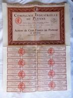 COMPAGNIE INDUSTRIELLE DU PLATINE - ACTION DE 100 FRANCS AU PORTEUR. ENTIEREMENT LIBEREE. 1898 - EXCELLENT ETAT. - Industrie
