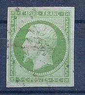 FRANCE - 12  5C VERT JAUNE NAPOLEON NON DENTELE OBL USED COTE 95 EUR - 1853-1860 Napoléon III