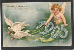 Bel ANGE Blond Tiré Par 2 Colombes - Année 1905 - Gaufrée En Relief - Anges