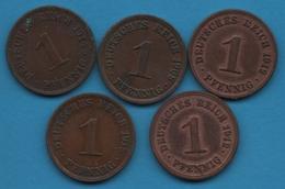 DEUTSCHES REICH LOT 5 X 1 PFENNIG 1908 - 1915 KM# 10 - [ 2] 1871-1918 : German Empire