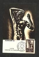 ALGÉRIE - Carte Maximum - ALGER - LUTTE CONTRE LE CANCER - 1956 - Cartes-maximum