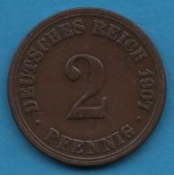 DEUTSCHES REICH 2 PFENNIG 1907 A KM# 16 - [ 2] 1871-1918 : German Empire
