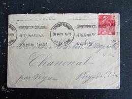 CLERMONT FERRAND - PUY DE DOME - FLAMME EXPOSITION COLONIALE 1931 SUR YT 272 CONCORDANCE - Marcophilie (Lettres)
