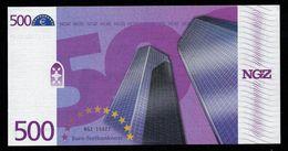 "Test Note ""NGZ"" Testnote, 500 EURO, Beids. Druck, RRR, UNC - EURO"