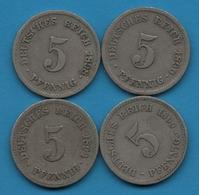 DEUTSCHES REICH LOT 4 X 5 PFENNIG 1890 - 1899  KM# 11 - [ 2] 1871-1918 : German Empire
