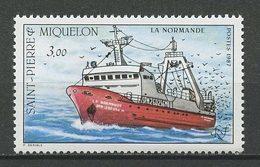 SPM MIQUELON 1987 N° 482 ** Neuf MNH Superbe C 3.60 € Bateaux Boats Chalutier La Normande Pêche Fishing Transports - Nuevos
