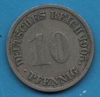 DEUTSCHES REICH 10 PFENNIG 1905 G    KM# 12 Wilhelm II - [ 2] 1871-1918 : German Empire