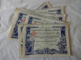 9 ACTIONS DE CENT FRANCS DE LA COMPAGNIE DES MINES DE BRUAY. BRUAY LE  5 OCTOBRE 1939 - Mines
