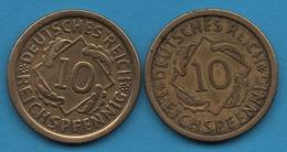 DEUTSCHES REICH LOT 2 X 10 REICHSPFENNIG 1925 A+F  KM# 40 - [ 3] 1918-1933 : Weimar Republic