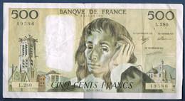 500 FRANCS PASCAL Fayette N° 71 Du 5.5.1988.C N° 49586 L.280 état SUP - 1962-1997 ''Francs''