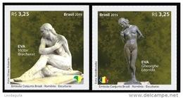 Brazilia 2015 / Joint Issue Romania - Brazilia / Set 2 Stamps / Eva - Leonida, Brecheret - Gemeinschaftsausgaben