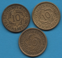 DEUTSCHES REICH LOT 3 X 10 REICHSPFENNIG 1925 - 1932  KM# 40 - [ 3] 1918-1933 : República De Weimar