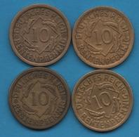 DEUTSCHES REICH LOT 4 X 10 RENTENPFENNIG 1924 A+D+F+J  KM# 33 - [ 3] 1918-1933 : Weimar Republic