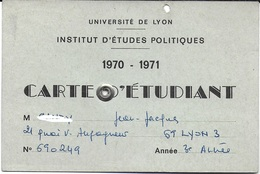 DOCUMENT IDENTITÉ POUR COLLECTIONNEUR CARTE ETUDIANT 1970 - 1971 INSTITUT ETUDES POLITIQUES LYON 69 RHONE - Autres