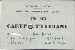DOCUMENT IDENTITÉ POUR COLLECTIONNEUR CARTE ETUDIANT 1970 - 1971 INSTITUT ETUDES POLITIQUES LYON 69 RHONE - Cartes