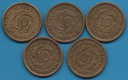 DEUTSCHES REICH LOT 5 X 10 RENTENPFENNIG 1924 A+D+F+G+J  KM# 33 - [ 3] 1918-1933 : Weimar Republic