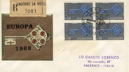 1968 - ANDORRA FRANCESE - EUROPA - BUSTA FDC.raccomandata.+5 - Storia Postale