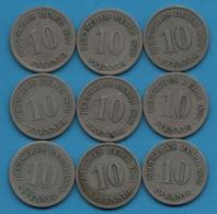 DEUTSCHES REICH LOT 9 X 10 PFENNIG 1875 - 1898 - Coins & Banknotes
