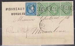 Rare - LAC Bande 3 N35 + N60 GC3171 Bordeaux-Mirambeau - 1862 Napoleon III