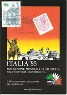 ITALIA - 1985 ROMA Esposizione Fil. ITALIA '85 Giornata Della Storia Postale Su Cartolina Speciale - Esposizioni Filateliche