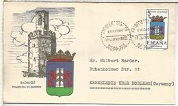 BADAJOZ CC CON MAT PRIMER DIA ESCUDO 1962 - Enveloppes