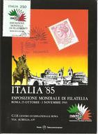 ITALIA - 1985 ROMA Esposizione Fil. ITALIA '85 Giornata Del Palmares (colosseo) Su Cartolina Speciale - Esposizioni Filateliche