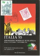 ITALIA - 1985 ROMA Esposizione Fil. ITALIA '85 Incontro Di Filatelia Tematica (fiori) Su Cartolina Speciale - Esposizioni Filateliche