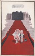 AP43 Artist Drawn Postcard - Wedded - Bride And Groom On Red Carpet - 1900-1949