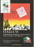 ITALIA - 1985 ROMA Esposizione Fil. ITALIA '85 Incontro Interi Postali Su Cartolina Speciale - Esposizioni Filateliche