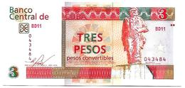 (Billets). Cuba. 3 Pesos Convertibles 2016 N° 043484 UNC - Cuba