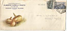 TENERIFE CANARIAS CC 1947 MAT HEXAGONAL CORREO AEREO TEMA CEBOLLAS ONION - 1931-50 Cartas