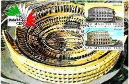 SAN MARINO - 1985 ROMA Esposizione Mondiale Fil. ITALIA '85 (Colosseo) Dittico Roma Su Cartolina Speciale - Esposizioni Filateliche