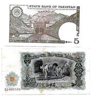 (Billets). Train. Rail Road. Pakistan 5 Rupees UNC & Bulgarie 25 Leva - Banconote