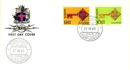 1968 - ISLANDA - EUROPA - BUSTA FDC.+5 - FDC