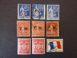 FRANCE, Année 1901-1964, Franchise Militaire, Lot De 9 Timbres - Franchise Militaire (timbres)