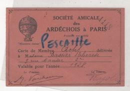 """CARTE DE MEMBRE DE LA SOCIETE AMICALE DES ARDECHOIS A PARIS - 1928 -"""" MOUNTAREN TOUJOUR """" - Historische Documenten"""