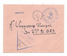 """ENVELOPPE POSTE NAVALE   """"BATIMENT - BASE - MORVAN """"  DU   23 - 7 - 1968  CAD  HEX  PLUS LINEAIRE  MORVAN - Marcophilie (Lettres)"""
