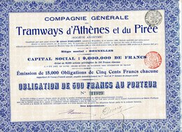 TRAMWAYS D'ATHÈNES Et Du PIRÉE; Obligation De 500 Francs - Other