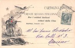 """09233 """"CROCE ROSSA ITALIA - PER I SOLDATI ITALIANI REDUCI DALLA CINA"""" ANIMATA. CART  SPED - Croix-Rouge"""