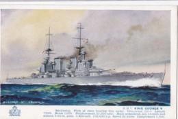 AP44 Shipping - Battleship H.M.S. King George V - Artist Signed Bernard Church - Warships