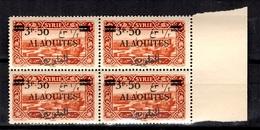 Alaouites YT N° 35A Variété Surcharge Recto-verso En Bloc De 4 Neufs ** MNH. TB. A Saisir! - Alaouites (1923-1930)