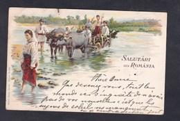 Roumanie Salutari Din Romania ( Attelage Passage Guet Chromo Lithographie Künzli Freres 1899) - Roumanie