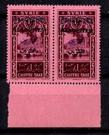 Alaouites Taxe Variété YT N° 7B Double Surcharge (noire Et Bleue) En Paire Neufs ** MNH. TB. A Saisir! - Alaouites (1923-1930)