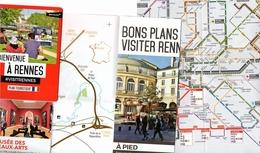 Plan Touristique Rennes + Plan Bus Et Métro - Dépliants Touristiques