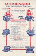 R. Caignard ,Paris 2 ,réparation De Machines à écrire ,6 Modéles Présentés - France